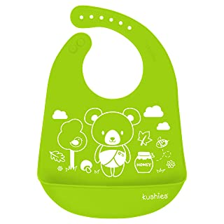 Kushies Silicatch Super Soft Silicone Waterproof Feeding Bib with Catch All/Crumb Catcher, Citrus Green, 6m + Kushies Baby B306-N01