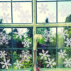 Christmas Snowflakes Window Clings Stickers Decal for Christmas Party Decorations,Holiday Winter Wonderland Ornaments Window Decorations Supplies Multi-Size (White,108PCS)