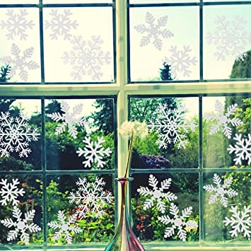 Amazoncom Pcs White Snowflakes Window Clings Decals Christmas - Snowflake window stickers amazon