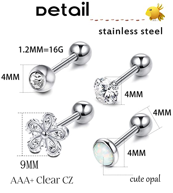 298951c33 LOYALLOOK 4-6Pcs CZ Barbell Helix Piecing Cartilage Earring Stainless Steel  Nose Lip Studs Opal Tragus Body Piercing Jewelry: Amazon.ca: Jewelry