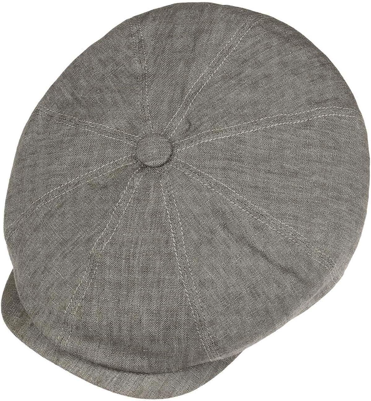 Spring//Summer Peaked Cap Cap with Cotton Lining Baker boy Cap Newsboy Cap with UV 40+ Sun Protection Stetson Hatteras Mens//Womens Linen Flat Cap