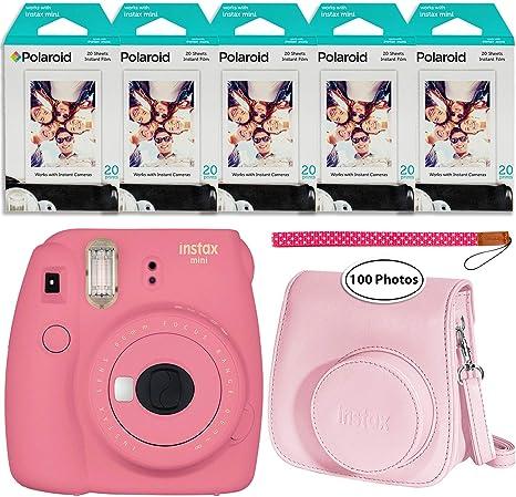 Fujifilm Instax Mini 9 Cámara instantánea (Rosa Flamenco), Groovy Case y 5X Twin Pack Instant Film (100 Hojas): Amazon.es: Electrónica