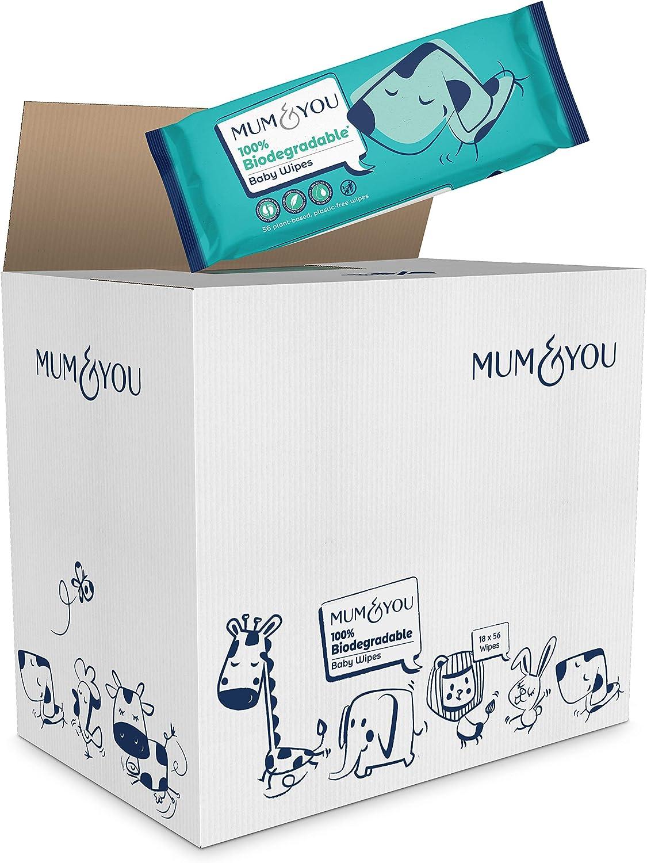Mum /& You Lingettes Humides pour B/éb/é Emballage Recyclable 100/% Biod/égradables 99,4/% Deau Hypoallerg/éniques et Test/ées par Dermato Lot de 12 672 Lingettes V/ég/étaliennes 0/% de Plastique
