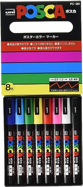 Pack 8 rotuladores UNI Posca Set PC 3M Sparkling