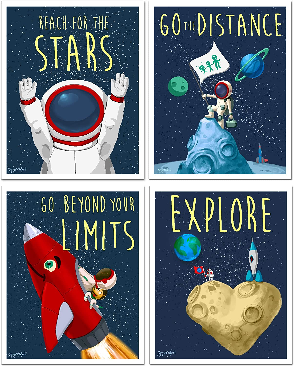 Space astronaut wall art Posters (pack of 4) kids room cute prints UNFRAMED Young N Refined (8x10)