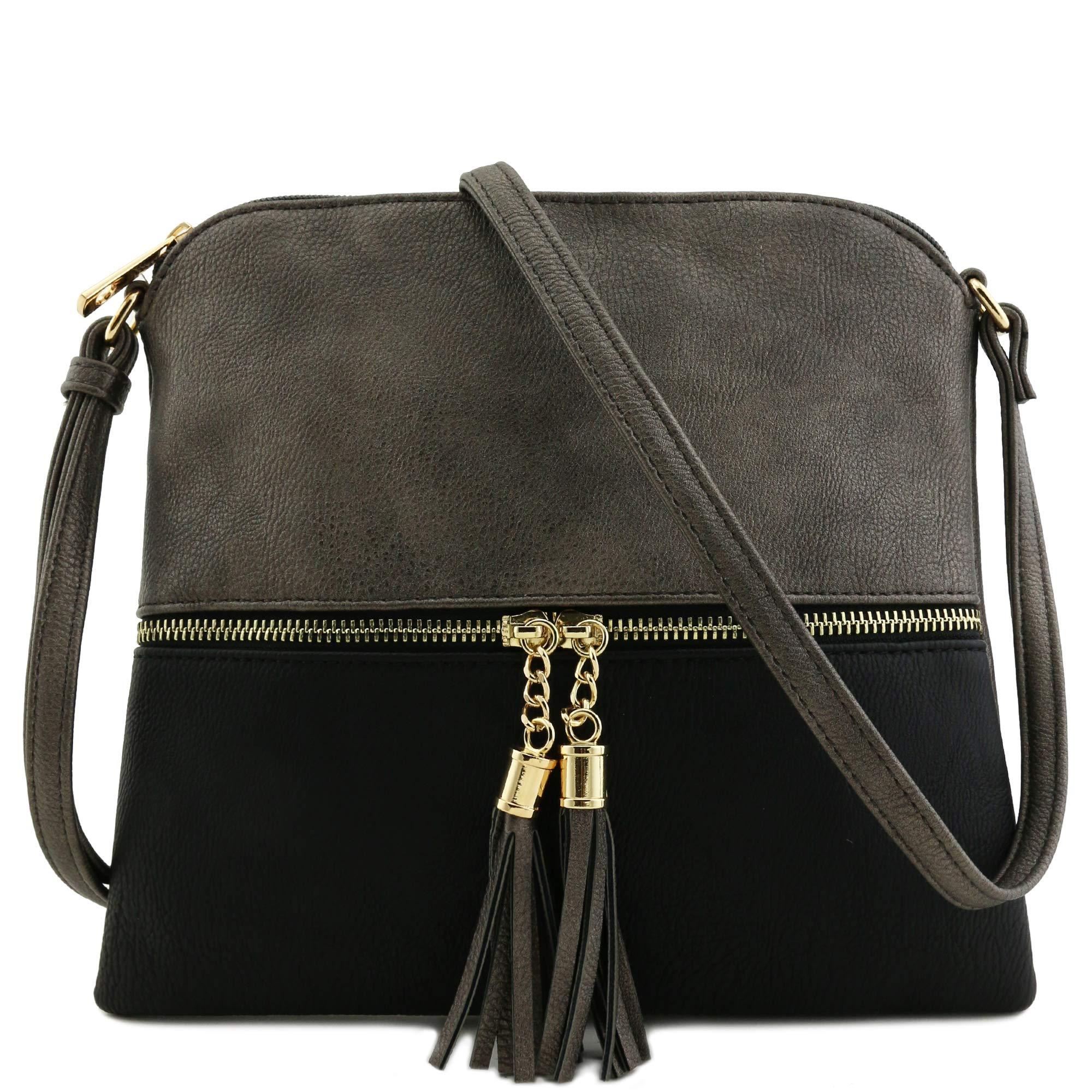 Lightweight Color-block Medium Crossbody Bag with Tassel (Pewter/Black)