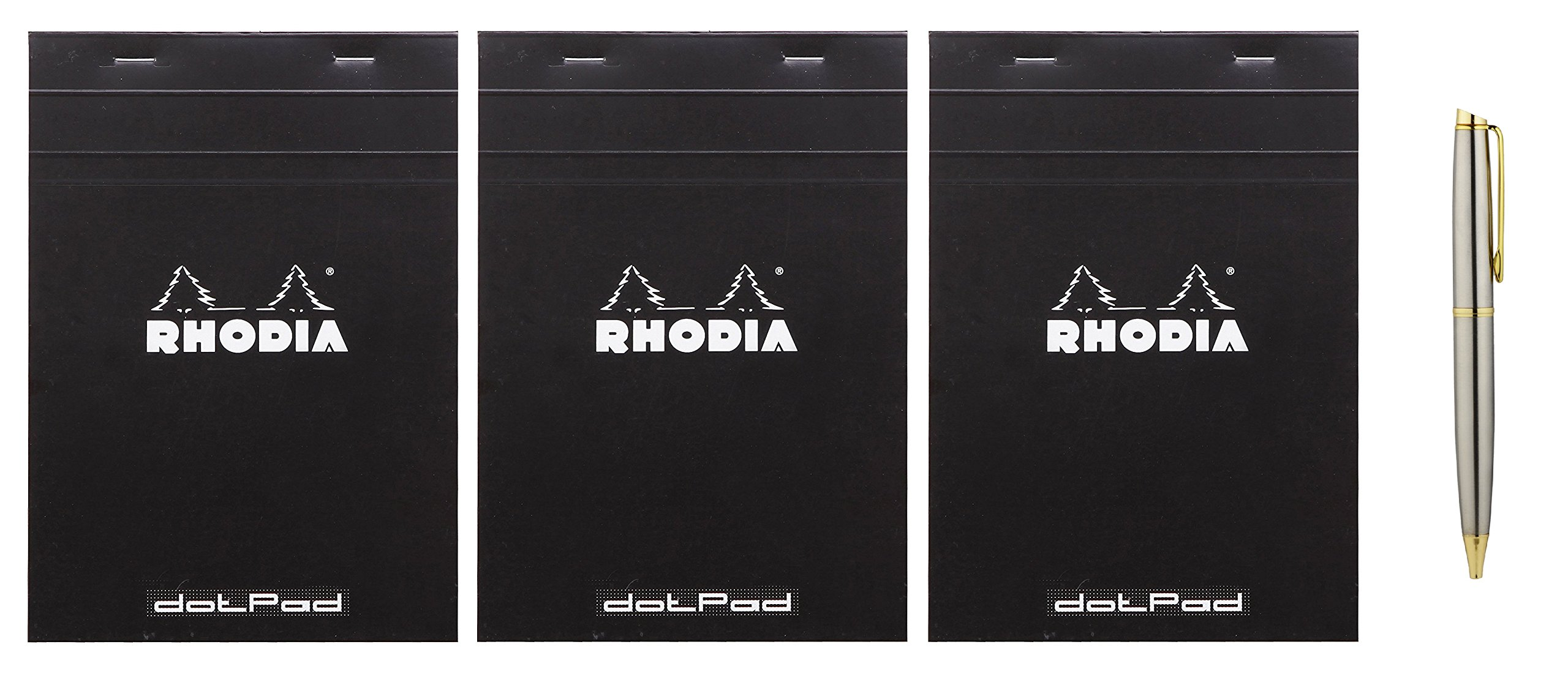 Rhodia No.16 A5 6 x 8 1/4 80 Sheet, Dot Pad, Black (16559), 3-Count Bundle with a Plexon Rollerball Pen
