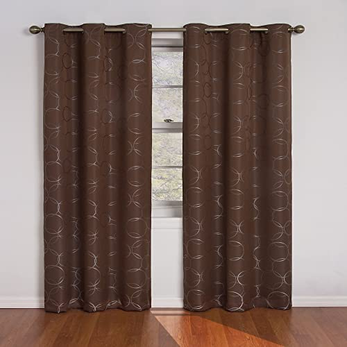 ECLIPSE Meridian Thermal Insulated Single Panel Grommet Top Darkening Curtains for Living Room, 42 x 95 , Chocolate