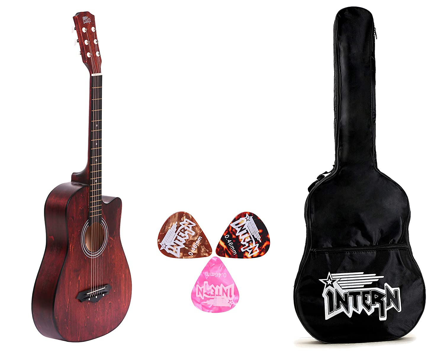 Intern INT-38C Brown Acoustic Guitar Kit With Carry Bag & Picks