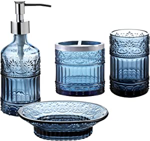 Whole Housewares Bathroom Accessories Set, 4-Piece Bath Accessory Completes with Soap/Lotion Dispenser, Toothbrush Holder, Tumbler,Soap Holder(Blue)