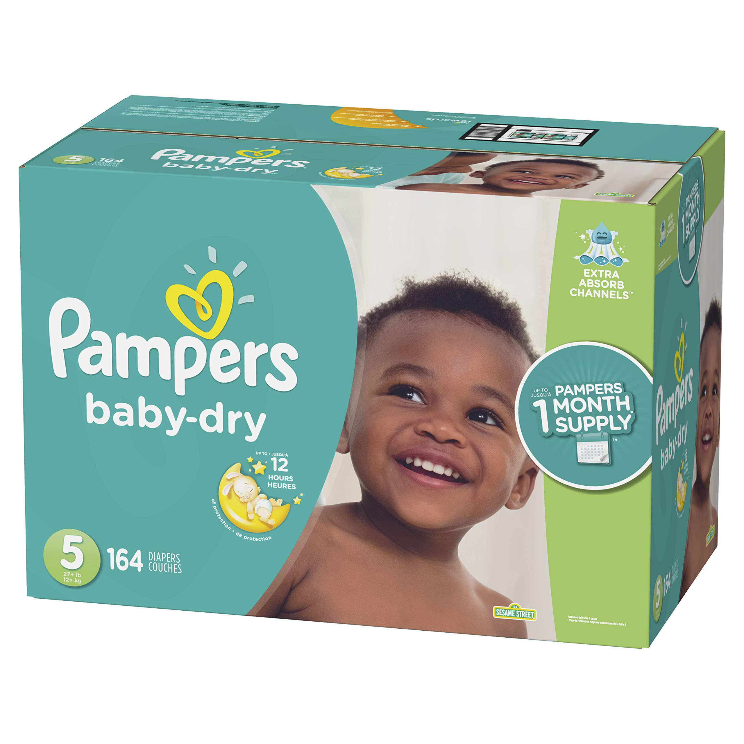 Diapers Size 5, 164 Count - Pampers Baby Dry Disposable Baby Diapers, One Month Supply by Pampers