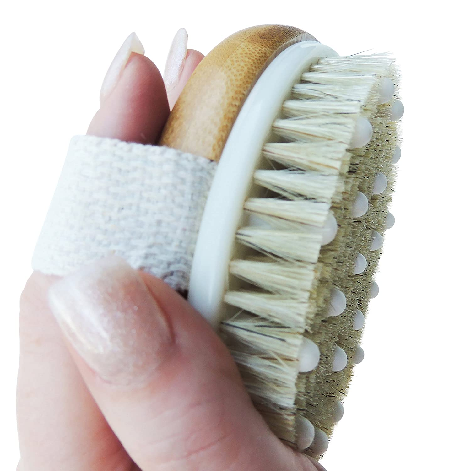 Anti Cellulite Exfoliating Brush. Dry Brushing Home Treatment for Reducing and Preventing The Appearance of Cellulite. Skin Tightening Body Scrub with Natural Boar Bristles and Combined Massagers Skin Dry Brushing