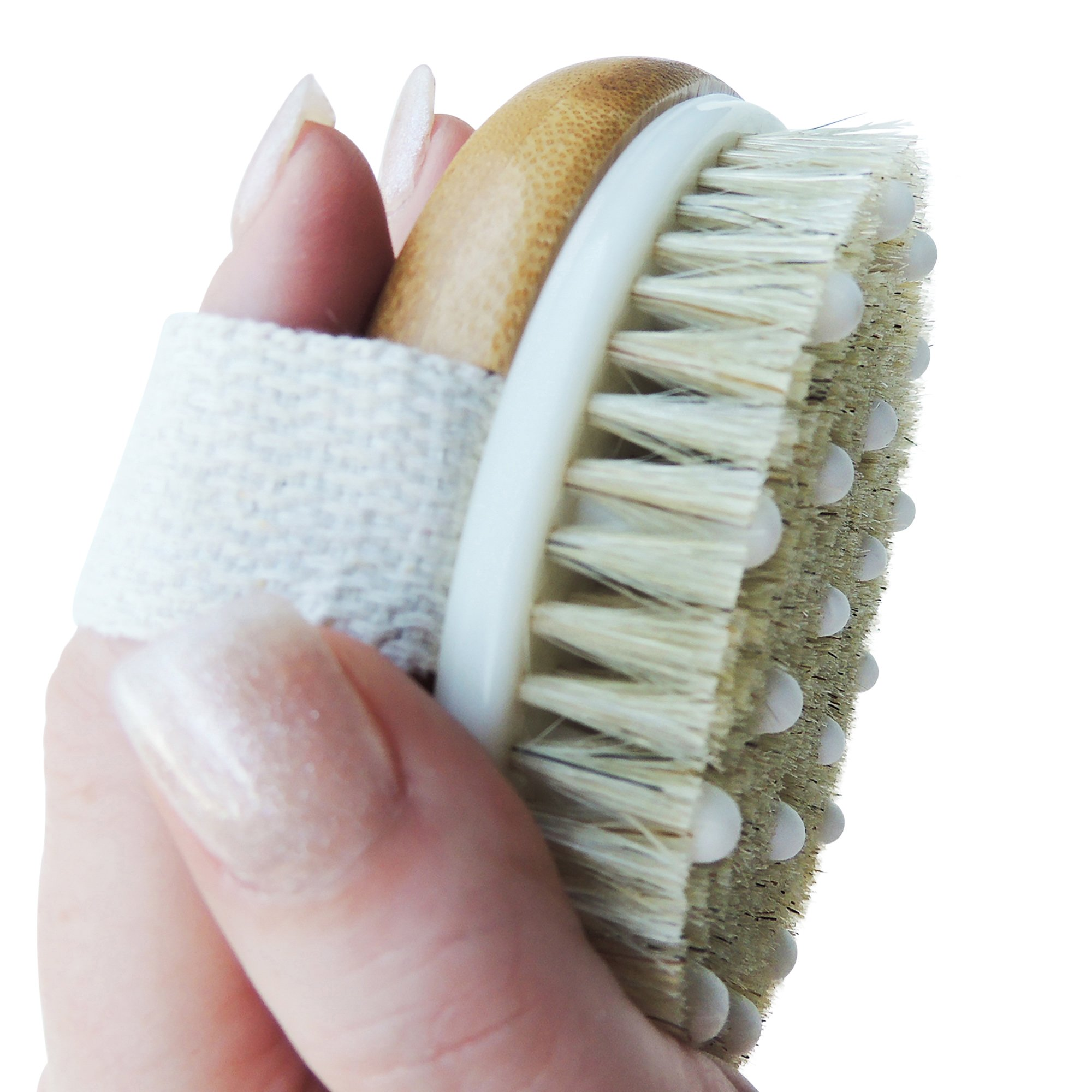 Anti-Cellulite Body Brush for Dry Brushing by Ozziko - 100% Natural Bristles. Attachable Long Bamboo Handle