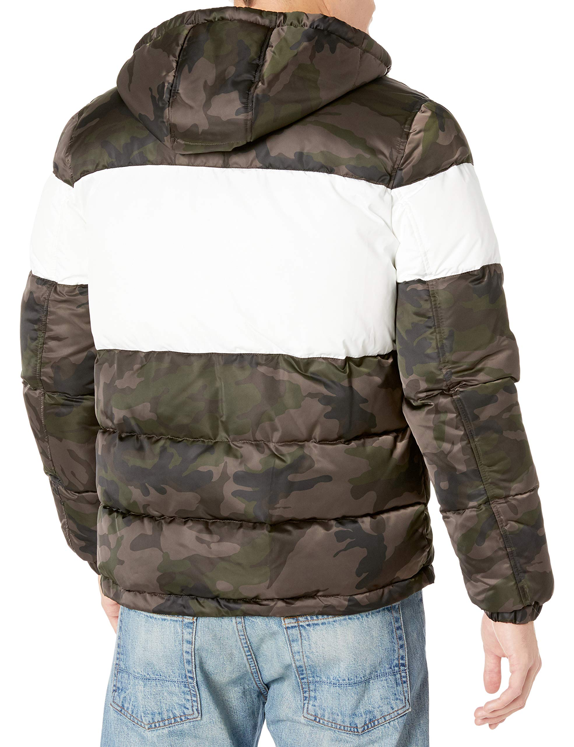 Small Blue Multi GUESS Mens Shiny Color Block Puffer with Hood