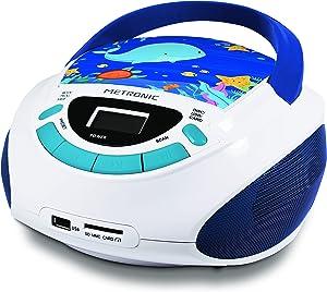 Metronic 477170 Radio y Reproductor de CD portátil con Toma USB/SD, Radio FM, 3W, con Salida Jack 3.5mm, Entrada Line IN Ocean, Blanco/Azul