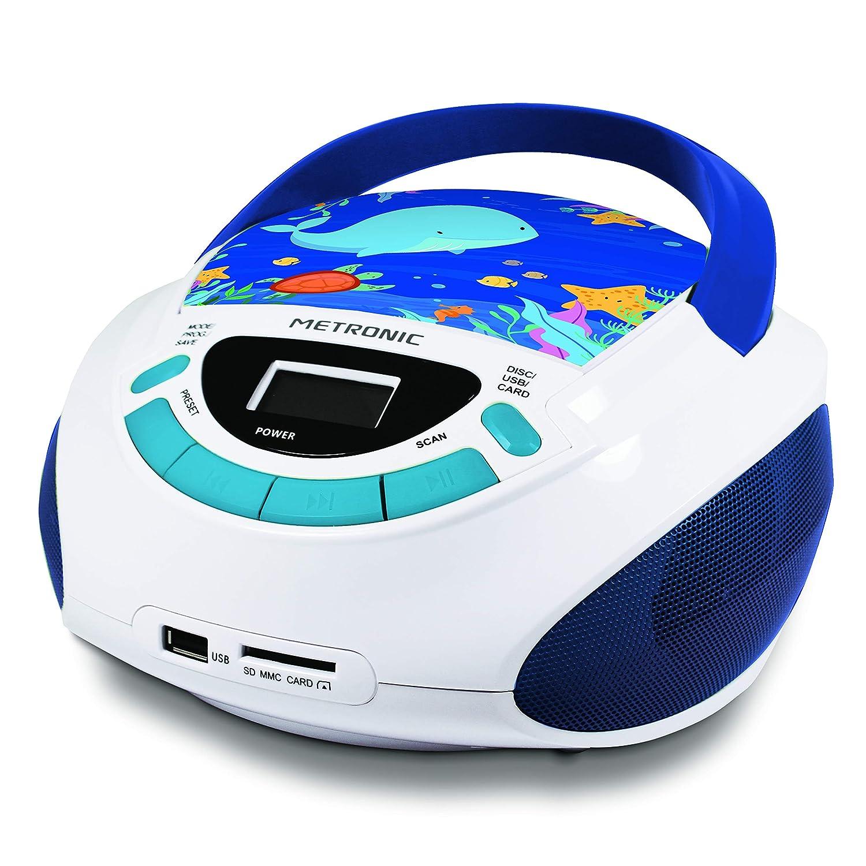 3W Blanco//Azul Entrada Line IN Ocean Radio FM con Salida Jack 3.5mm Metronic 477170/Radio y Reproductor de CD port/átil con Toma USB//SD