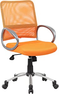 Boss Office Products B6416-OR Mesh Back Task Chair with Pewter Finish in Orange