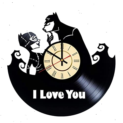 Amazoncom Batman Loves Catwoman Vinyl Clock Gift For Dc Comics