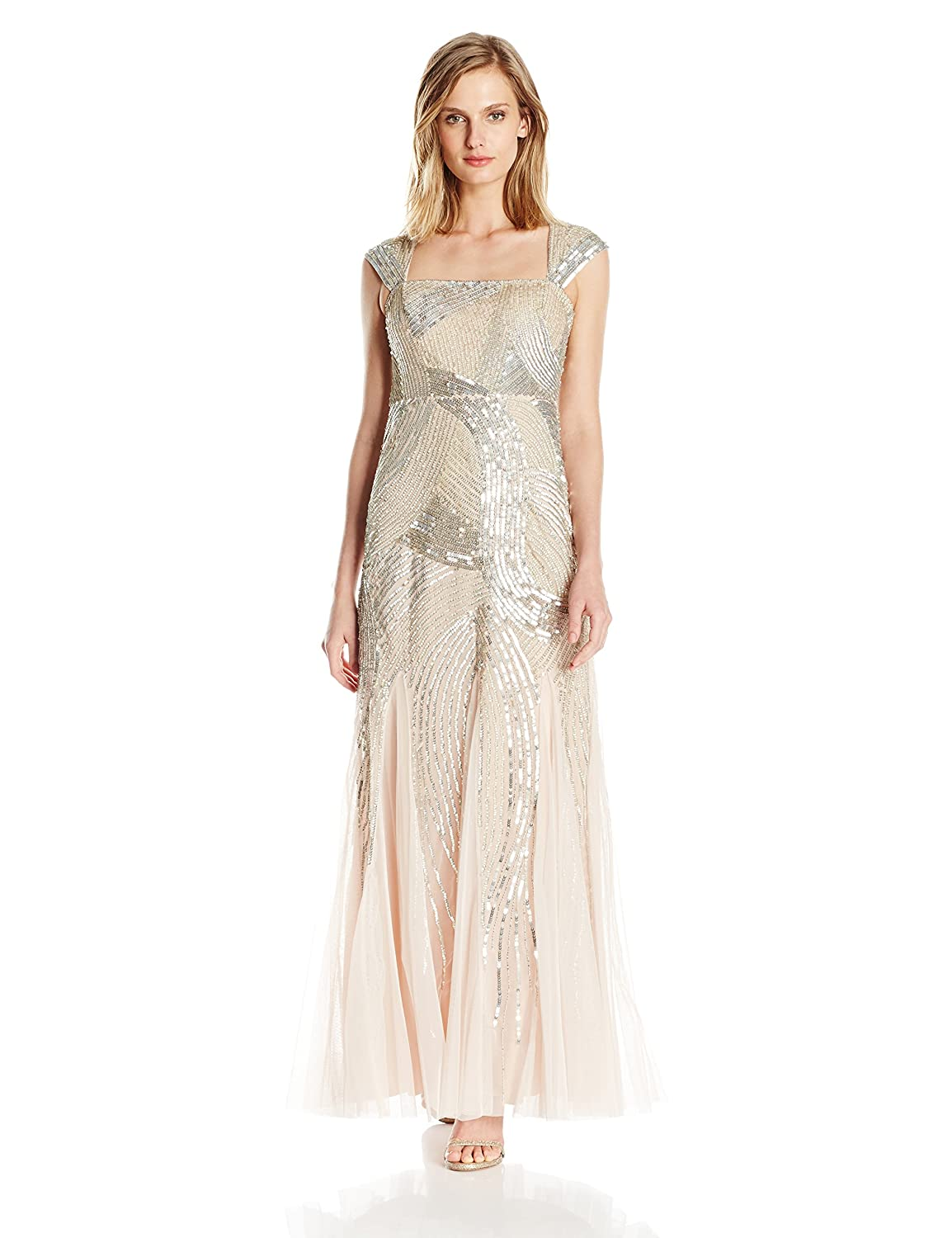 Vintage Inspired Bridesmaid Dresses Adrianna Papell Womens Petite Cap Sleeve Fully Beaded Gown $340.00 AT vintagedancer.com