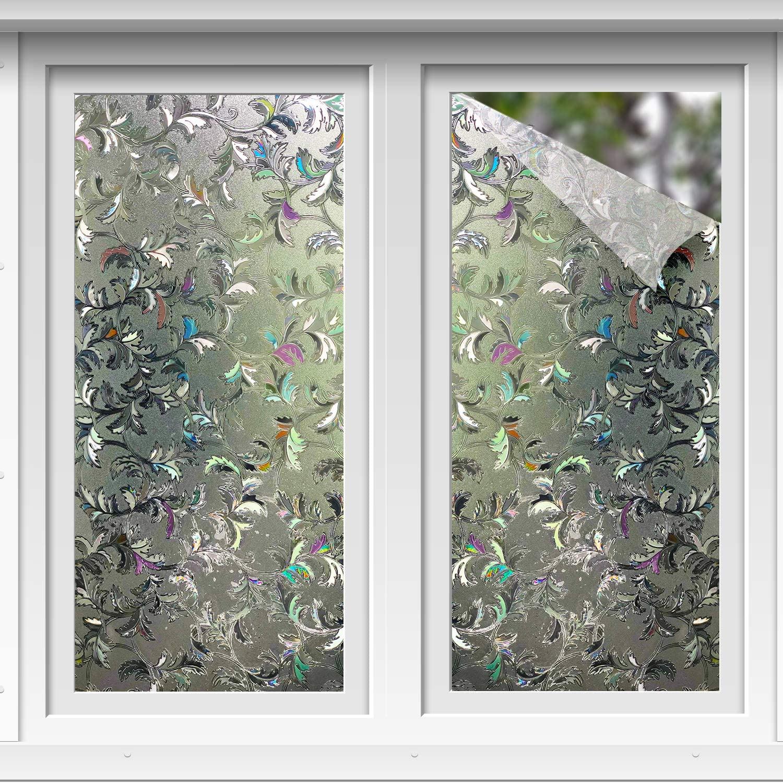 Rabbitgoo 3D No Glue Static Decorative Privacy Window Films for Glass Non-Adhesi