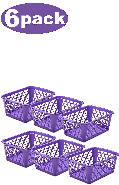 YBM HOME Plastic Perforated Storage Basket Bin Office Drawer, Shelf Desktop Countertop Tray Organizer 32-1184 (6, Purple)