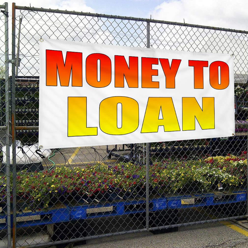 Vinyl Banner Sign Money to Loan White Red Yellow1 Business Marketing Advertising Red 48inx96in Multiple Sizes Available One Banner 8 Grommets