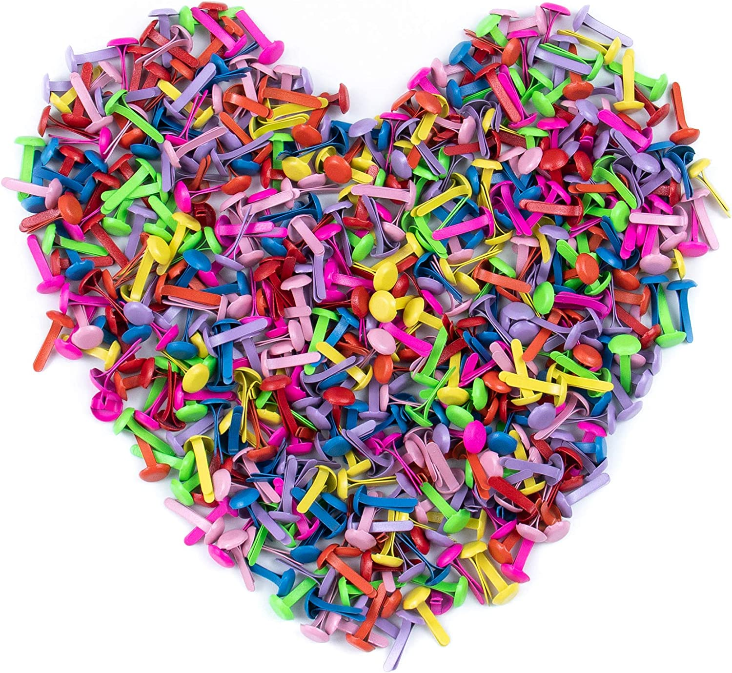 500 Pack Mini Brads Assorted Bright Color Small Round Metal Paper Fasteners Pastel Brads Split Pins for Scrapbooking Crafts DIY Paper 6 x 13mm AUEAR