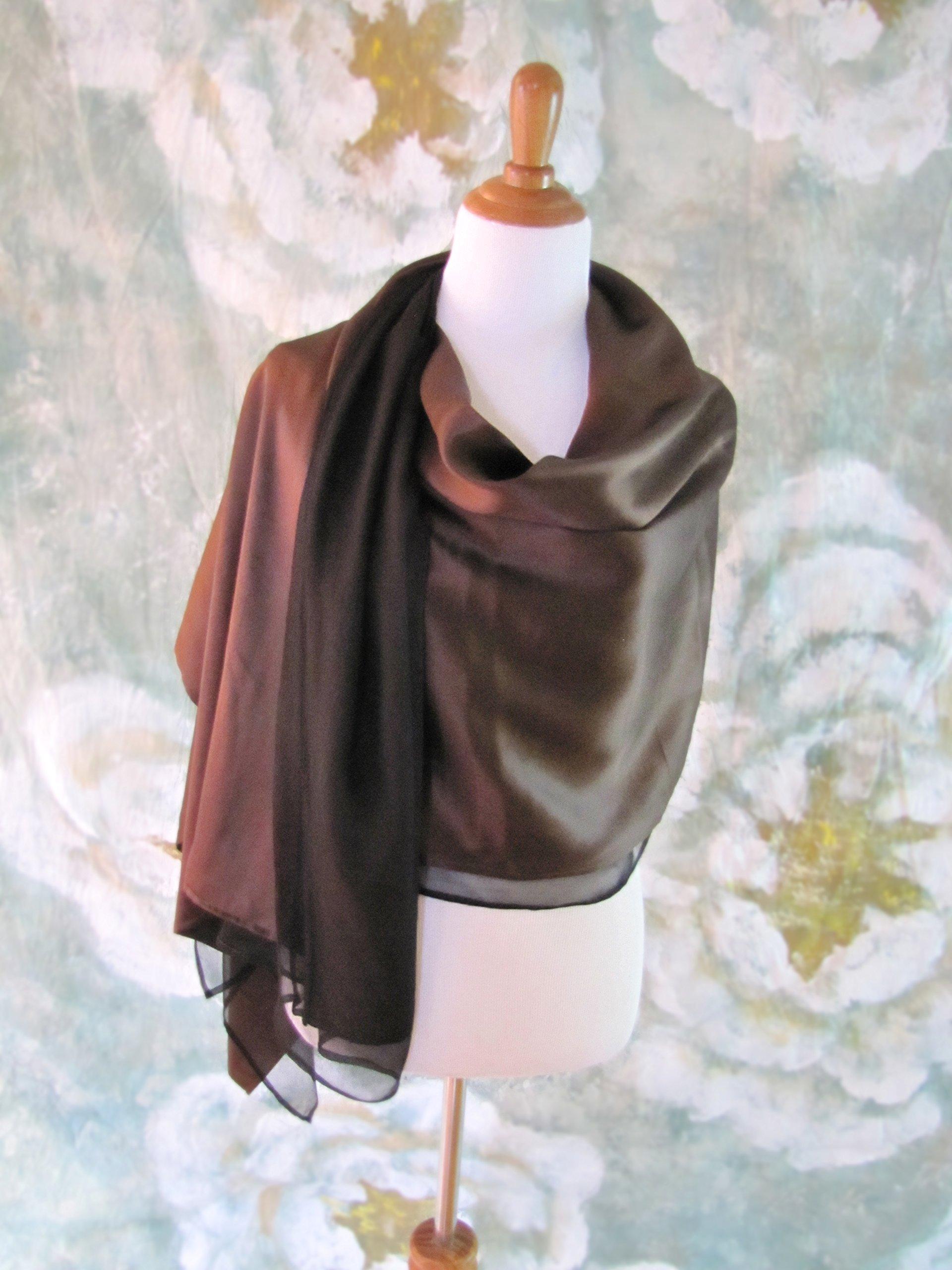 Silk Evening Wrap, Silk Shawl, Two-tone Chocolate and Black, Oversized Silk Scarf, Evening Shawl, Handmade
