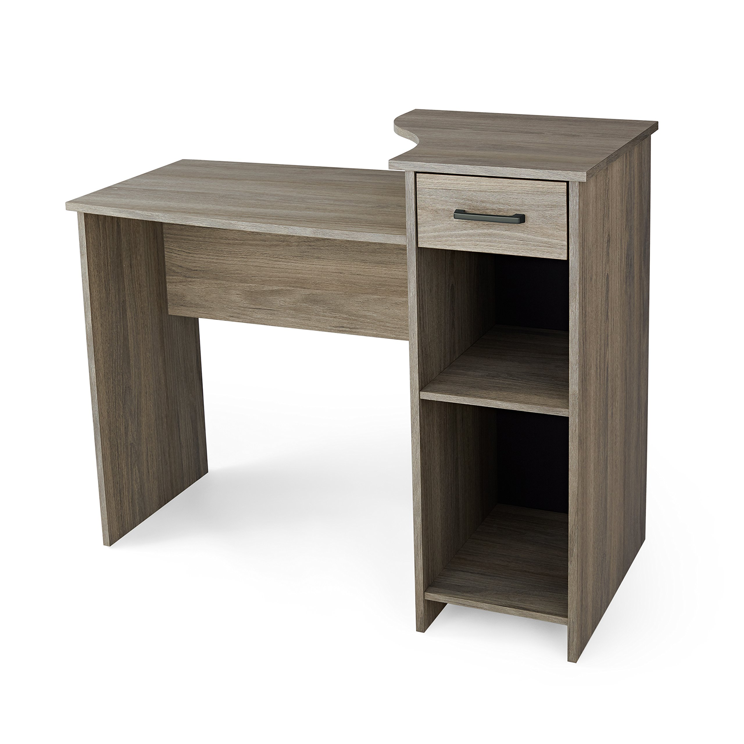 Mainstays Engineered Wood Student Desk with Adjustable Storage Shelf & Drawer in Rustic Oak Finish
