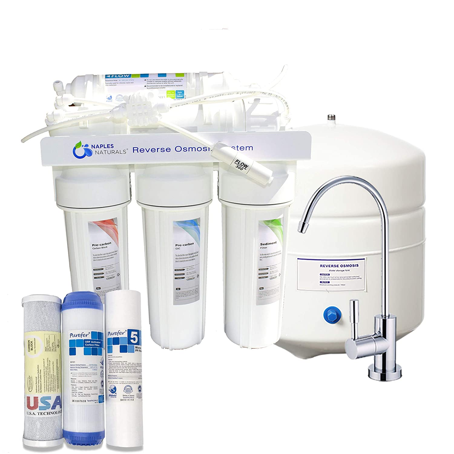 Naples Naturals RO58 Reverse Osmosis Water Filter System (5-Stage) with Extra Replacement Filters