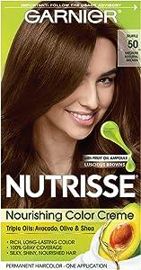 Garnier Nutrisse Nourishing Hair Color Creme, 50 Medium Natural Brown (Truffle)(Packaging May Vary)