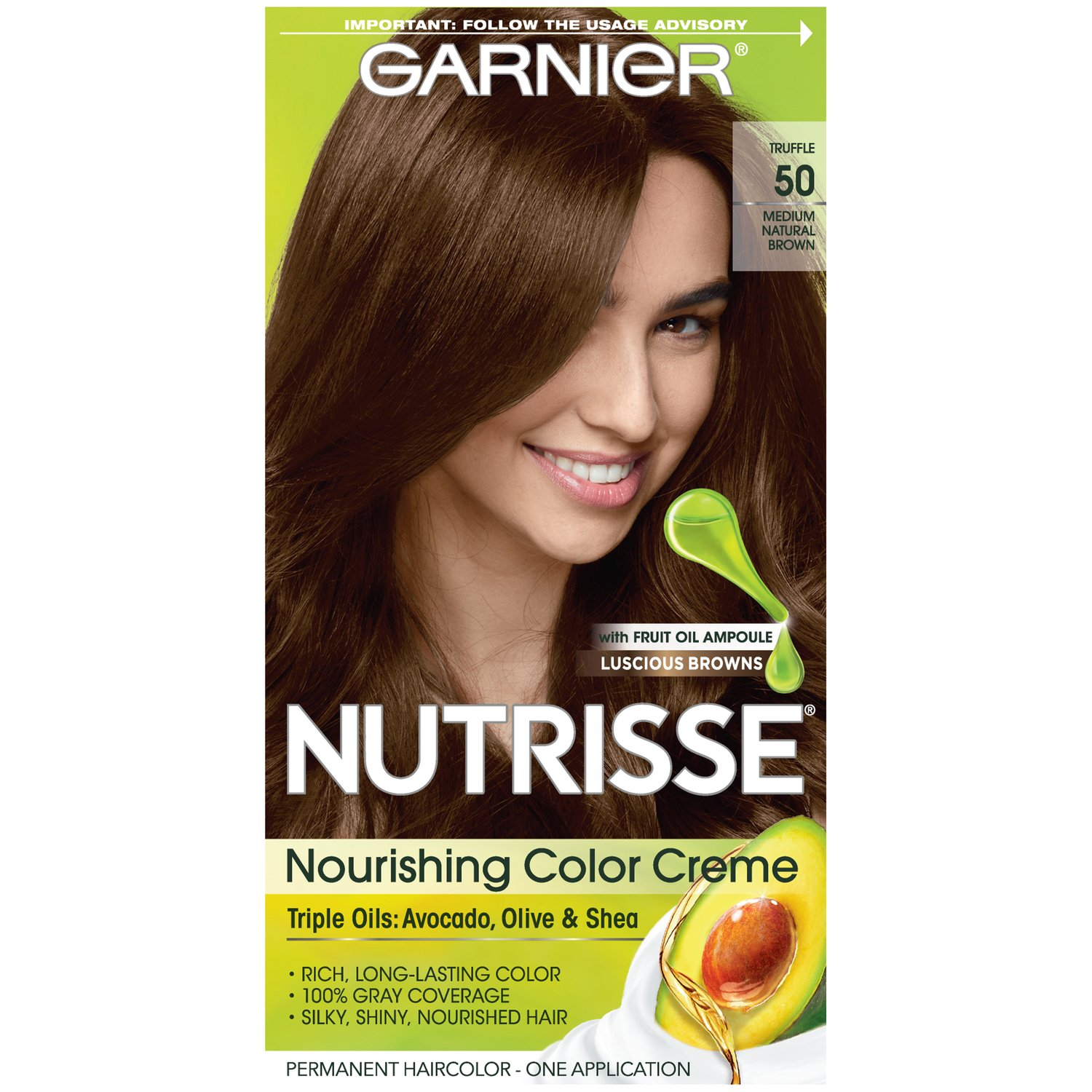 Garnier Nutrisse Nourishing Hair Color Creme, 50 Medium Natural Brown (Truffle) (Packaging