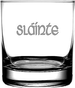 Slainte Irish Celtic Gaelic Toast | Rocks Whiskey Glass Highlander Outlander Fans | Irish Scottish Gifting Weddings Anniversary Housewarming Birthday | Men or Women