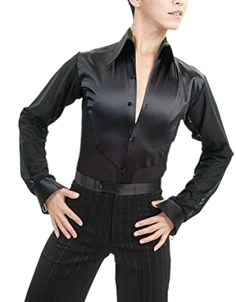 87210ac5f JS CHOW Black Men's Ballroom Smooth Rhythm Latin Salsa Tango Dance Shirt ...