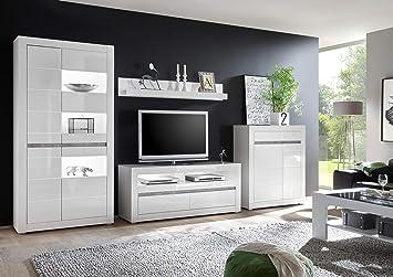 Newfurn Wohnwand Anbauwand Modern Wohnzimmerschrank Wohnlandschaft  Mediawand Fernsehschrank II xx cm (BxHxT) II [Finn.six Concept] in  Weiß/Weiß ...
