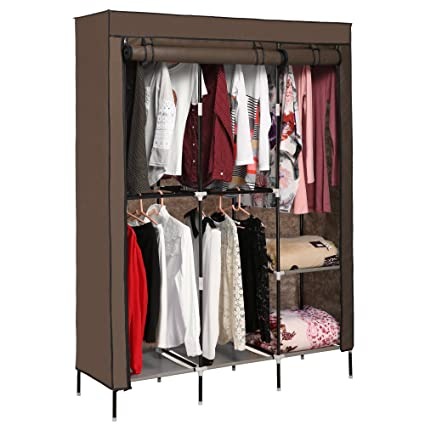 Miageek Portable Wardrobe Clothes Storage Organizer With Hanging Rack  Non Woven Thickening Dust Closet[