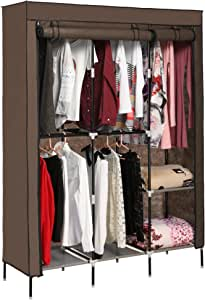 Aceshin Clothes Closet Organizer Storage Portable Wardrobe Fabric Cabinet Coffee
