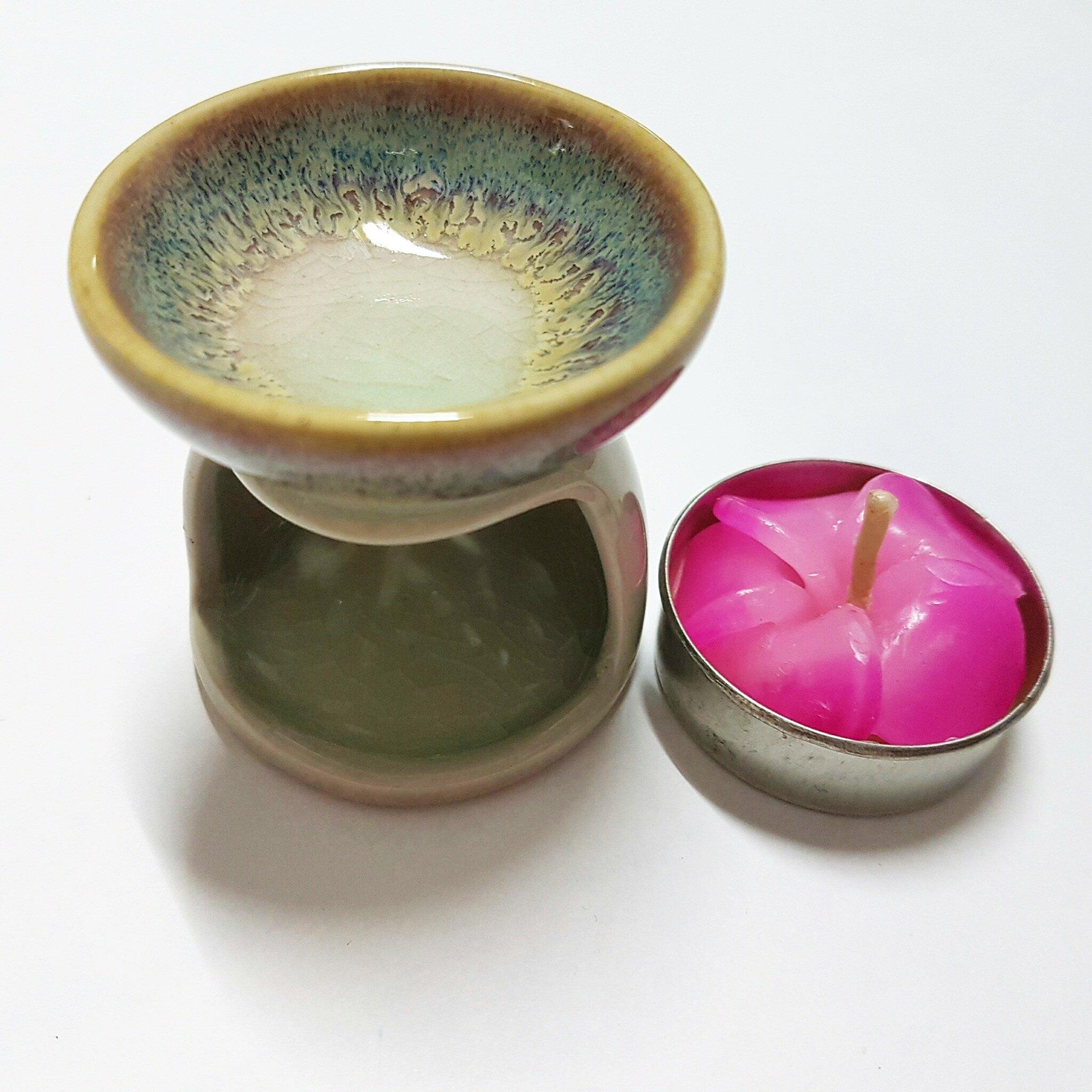 Ceramic Incense Oil Warmer Aroma Burner Oil Lamp Tea Light Candle Holder for A Votive Candle