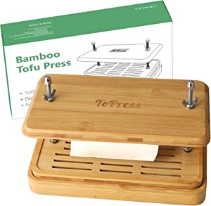 Yarkor Bamboo Tofu Press, Built in Tofu Strainer and Drip Tray - Easily Remove Water from Tofu and other foods