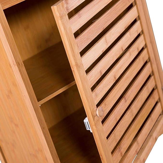 Maco Import Hochschrank Badezimmer Regal Bambus Badschrank Mit Tur