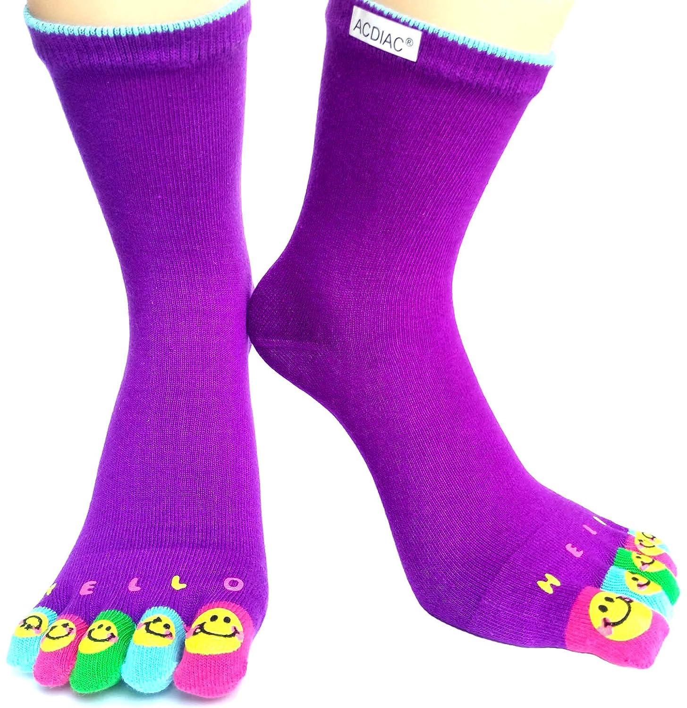 Women winter Long Toe socks Funky Solid color Smiling face printing sock-purple acdiac JYca-12-purple