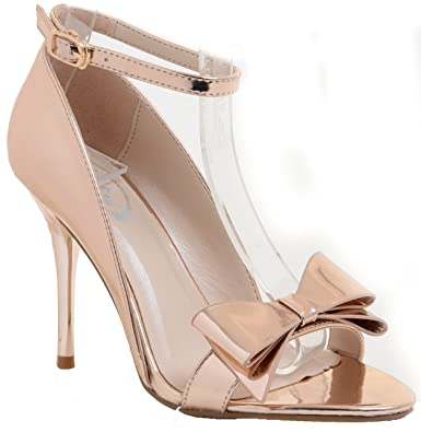 7b9bd2d2605 Amazon.com  Champagne Rose Gold Metallic Ankle Strap Bow High Heel ...
