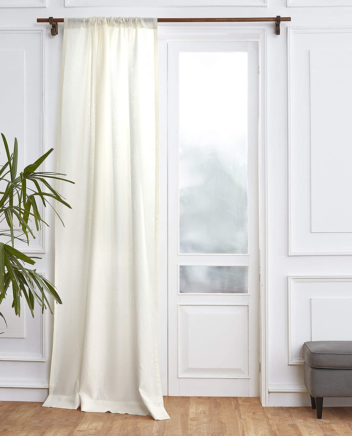 Solino Home 100% Pure Linen Curtain – 52 x 96 Inch Ivory Lightweight Rod Pocket Window Panel – Handcrafted from European Flax