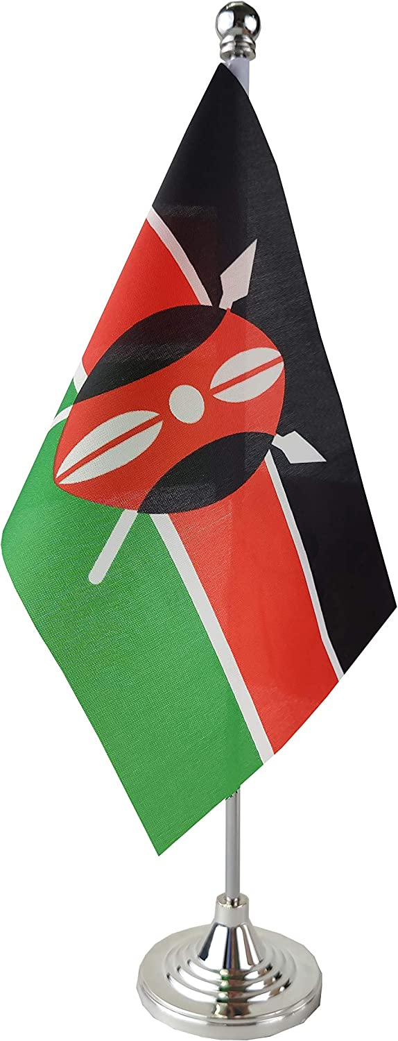 GentleGirl.USA Kenya Table Flag, Stick Small Mini Kenyan Flag Office Table Flag on Stand with Stand Base, International Festival Decoration,Kenyas Theme Party Decoration,Home Desk Decoration