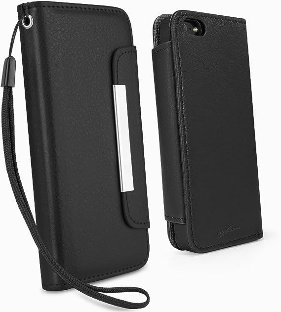 Amazon Com Iphone 5 Case Boxwave Leather Clutch Case Synthetic Leather Wristlet W Fashionable Design For Apple Iphone 5 Se 5s Nero Black