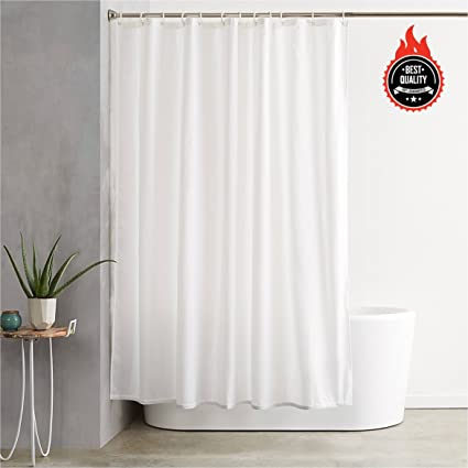 Awekris Fabric Shower Curtain Liner Solid Hotel Quality White Polyester Waterproof Imported