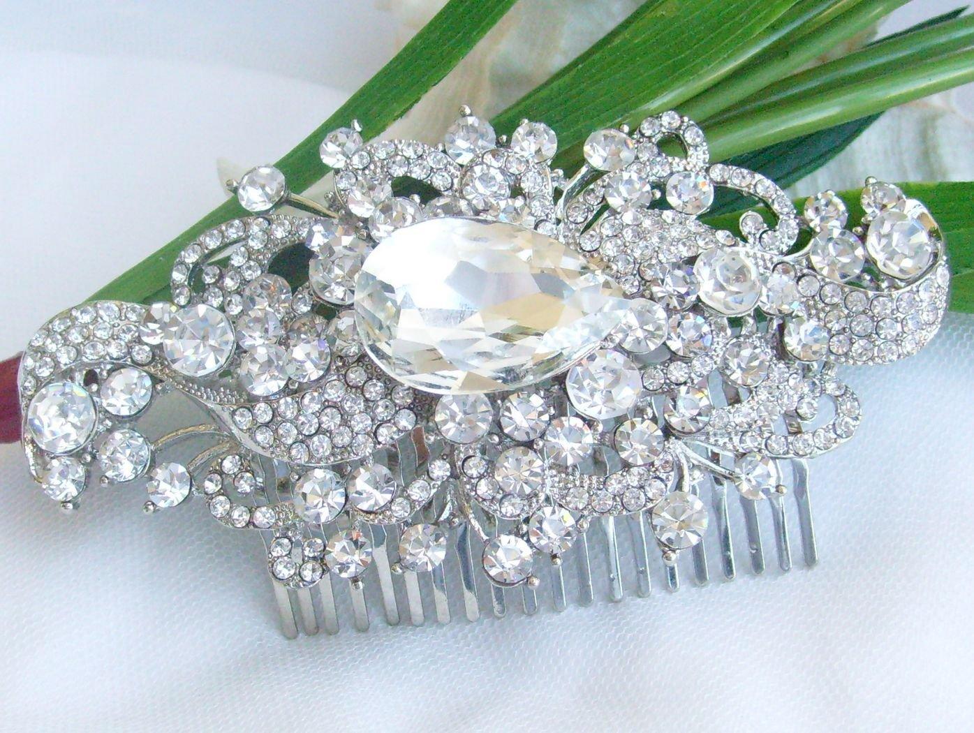 Sindary Wedding Headpiece 4.53 Inch Silver-tone Clear Rhinestone Crystal Flower Hair Comb by Sindary Jewelry (Image #2)