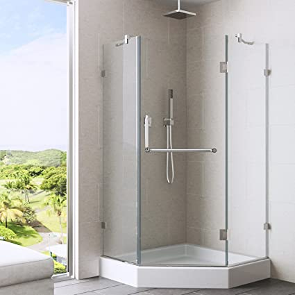 VIGO Piedmont 38 X 38 In. Frameless Neo Angle Shower Enclosure With .