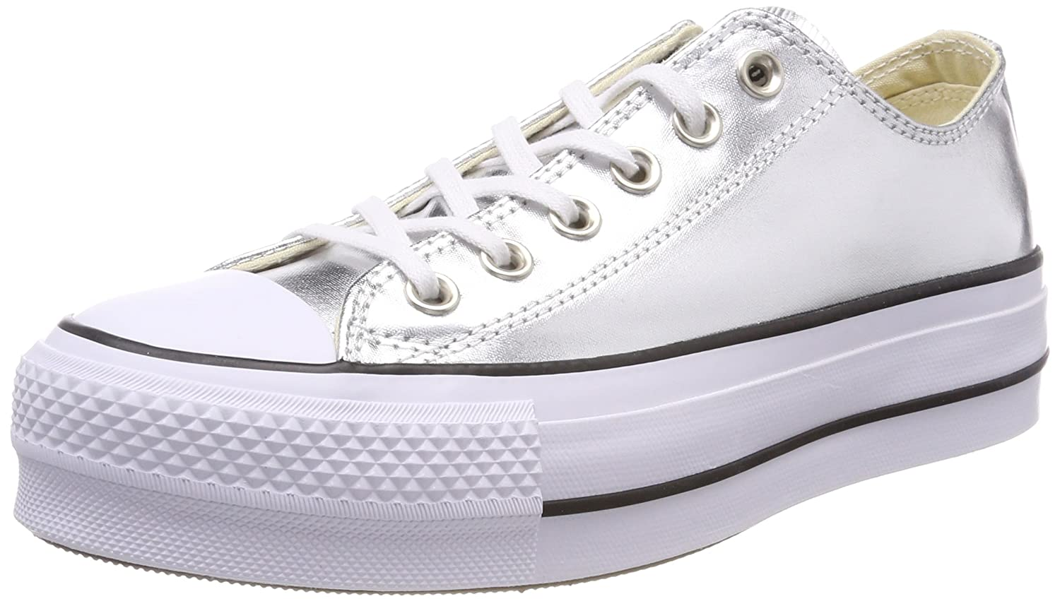 Amazon.com | Converse Womens Chuck Taylor CTAS Lift Ox Canvas Fitness Shoes, Silver (Silver/Black/White 050), 8.5 UK | Athletic