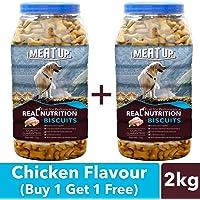 Meatup Chicken Flavour, Real Chicken Biscuit, Dog Treats - 1kg Jar